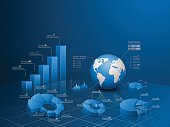 Set of vector 3d graph with infographic global template.