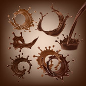 Set of vector 3D illustrations, splashes and drops of melted dark and milk chocolate, hot coffee, cocoa