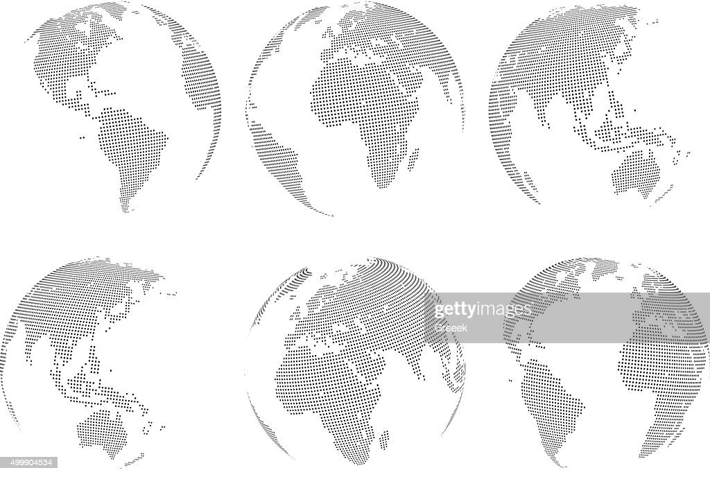 Set of vector abstract dotted globes