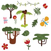 Set of vector African trees