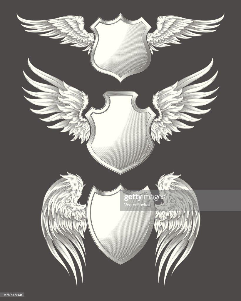 Set of vector angelic or bird wings with heraldic shields