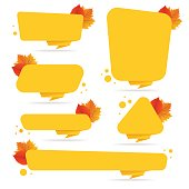 Set of vector autumn discount tickets, labels, stamps, stickers with