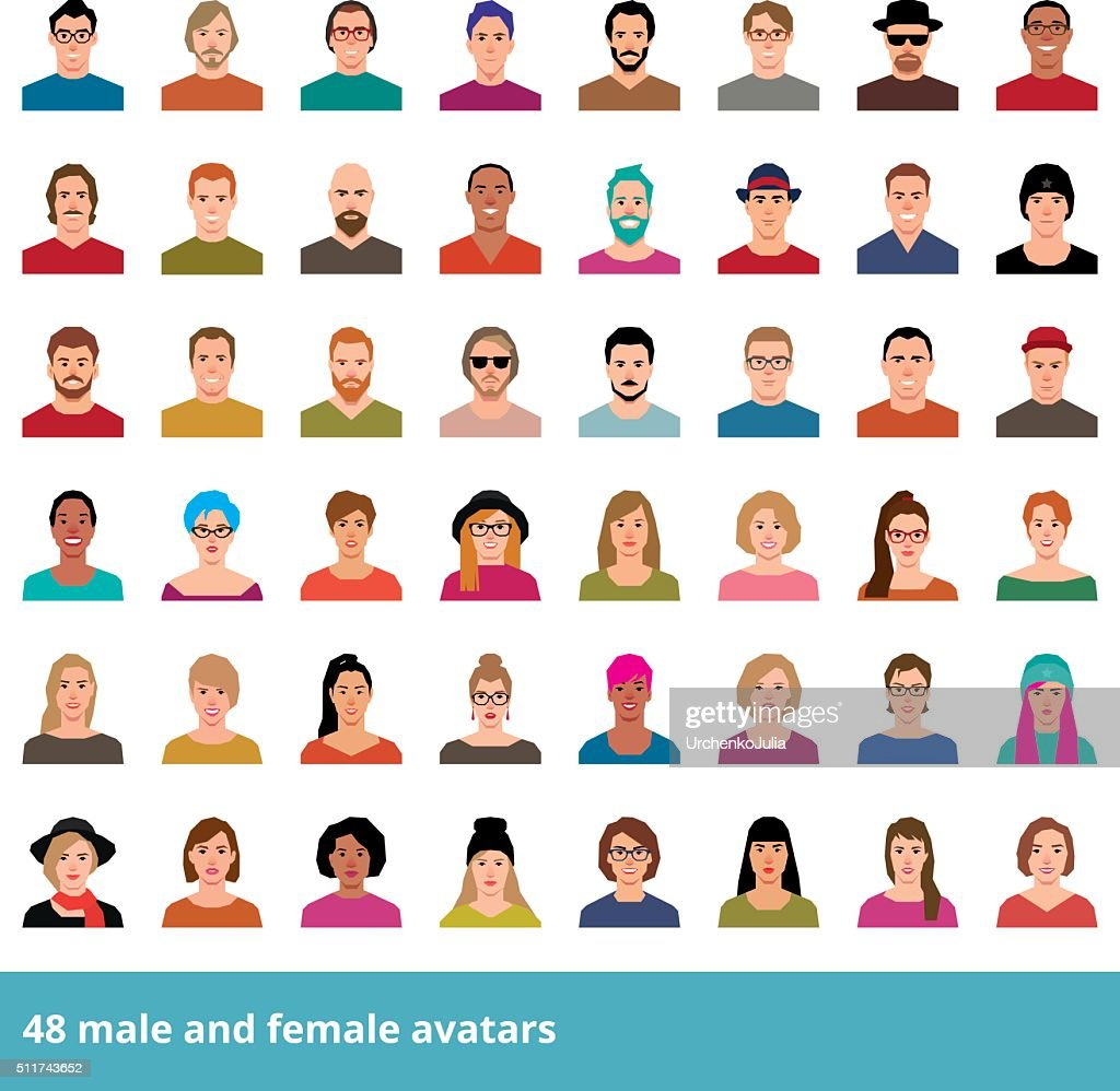 Set of vector avatars people in a flat style