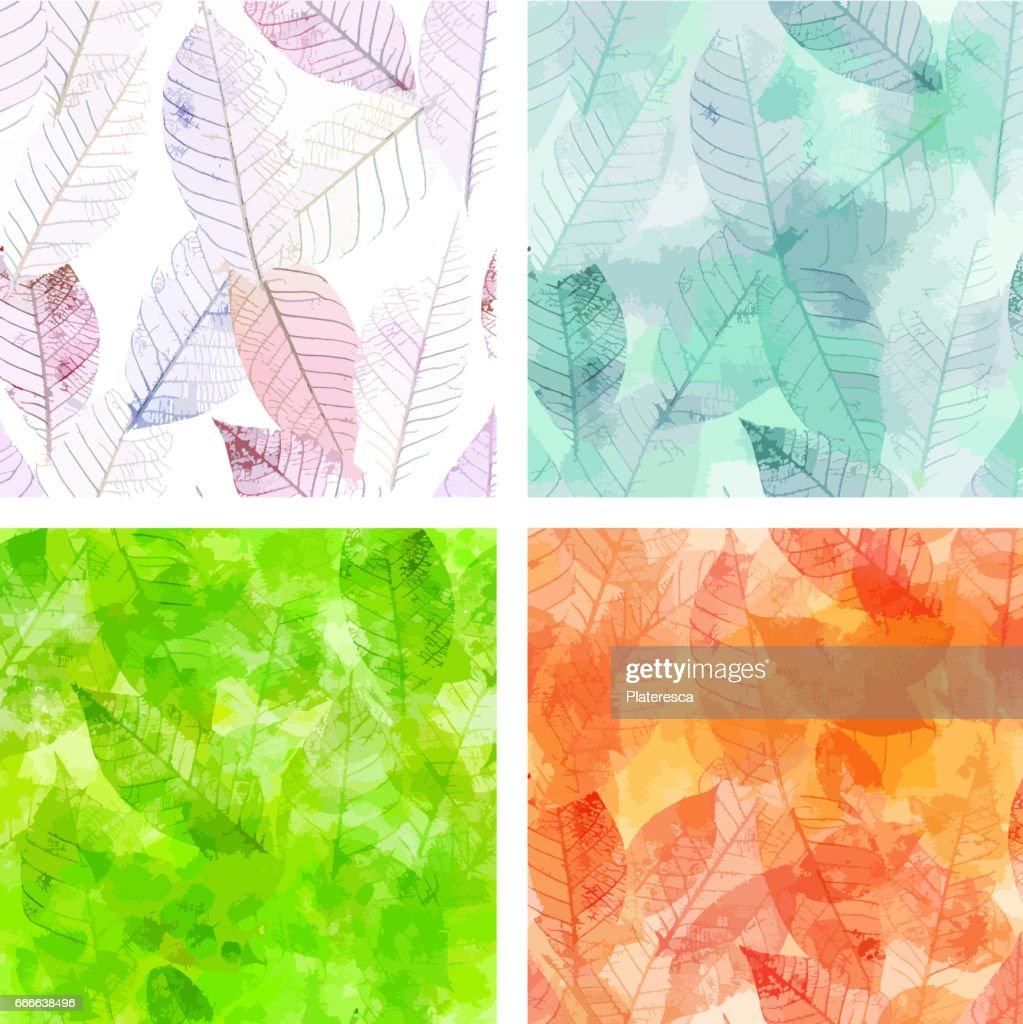 Set of vector backgrounds with skeleton leaves