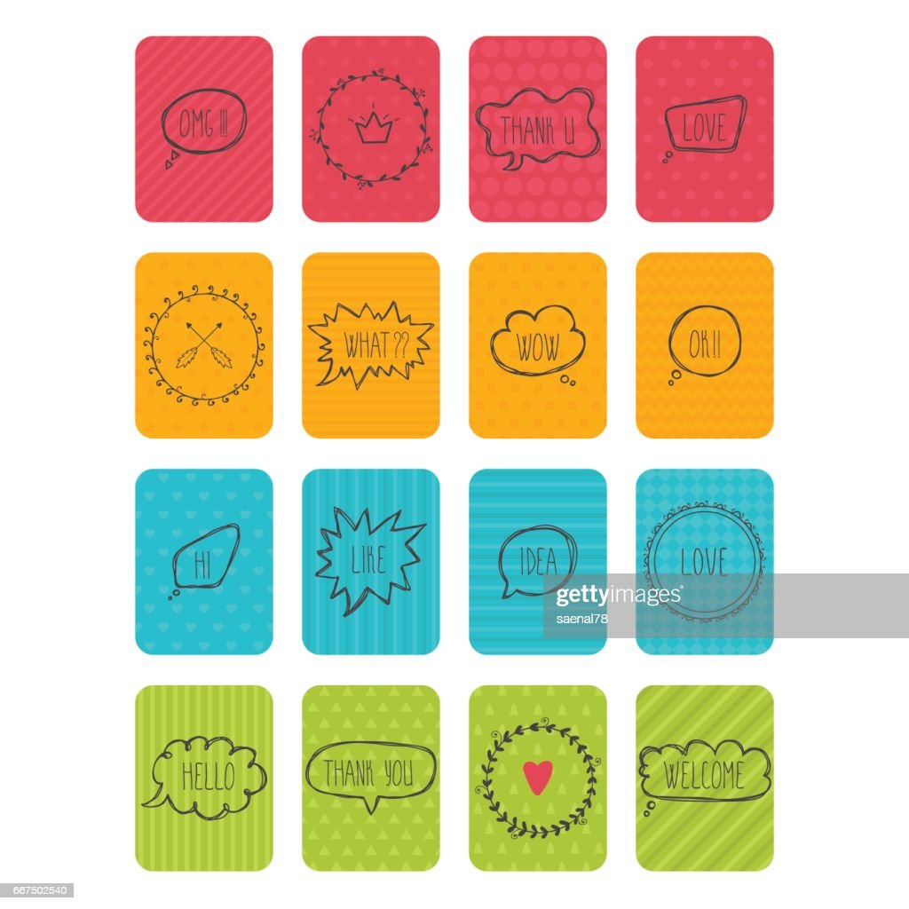 Set of vector banners. Cute cards with speech bubbles and frames. Collection of stickers and labels
