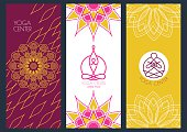 Set of vector banners template for for yoga class.