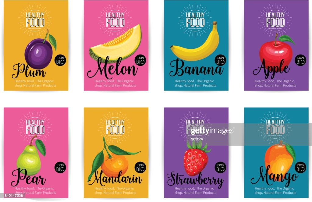 Set of vector banners with fruits