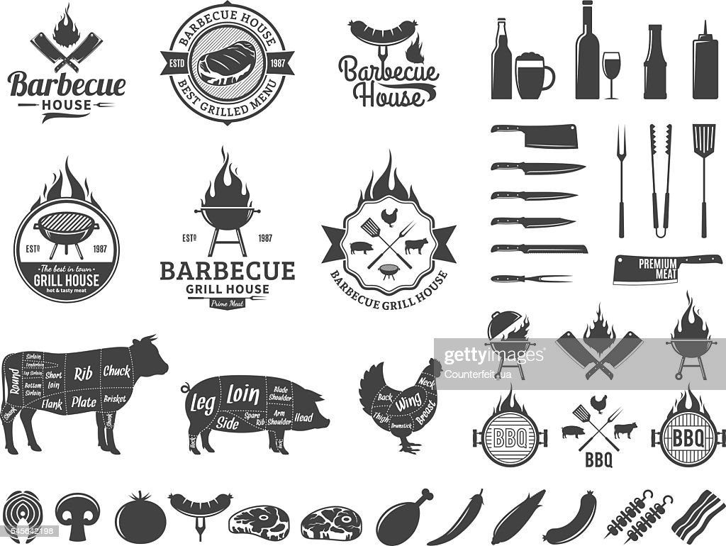 Set of vector barbecue labels and icons