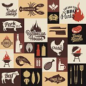 Set of vector bbq labels, icons and design elements