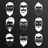 Set of vector bearded hipster men faces on the transperant alpha background. White color haircuts, beards, mustaches set. Handsome man emblems icons.