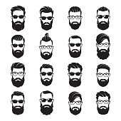 Set of vector bearded men faces hipsters with different haircuts, mustaches, beards, sunglasses.