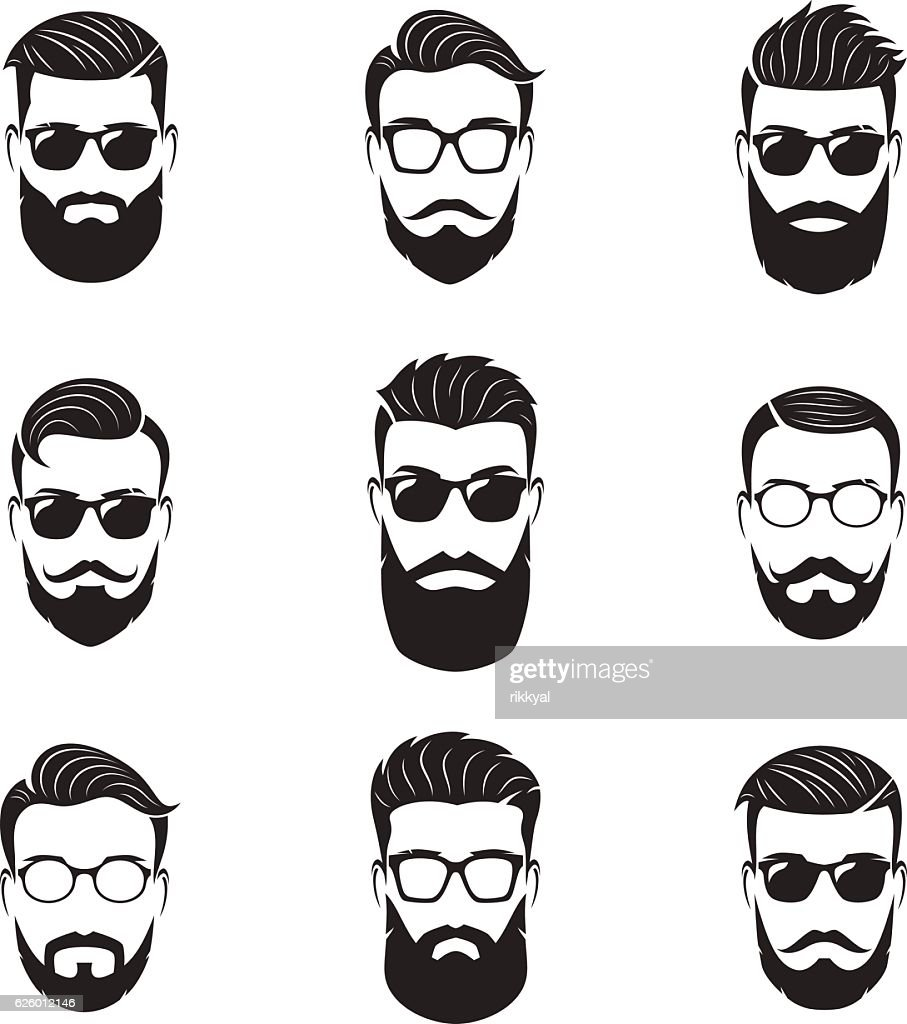 Set of vector bearded men faces, hipsters with different hairstyles