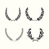 Set of vector black and white circular foliate wreaths