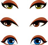 Set of vector blue, brown and green eyes. Female eyes expressing different emotions, face features of seducing women.