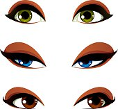 Set of vector blue, brown and green eyes. Female eyes