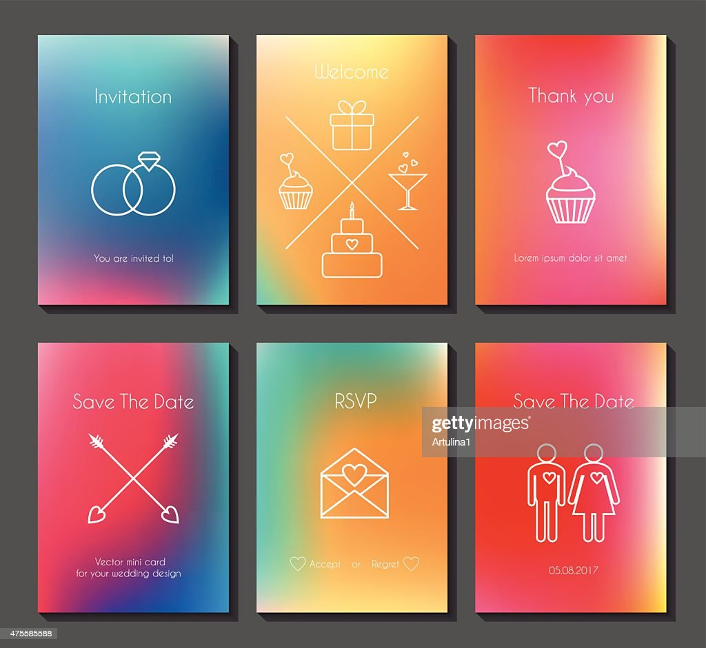Set of vector blurred wedding cards