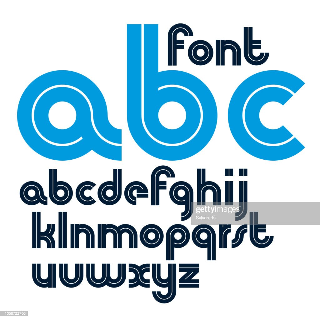 Set of vector bold lower case alphabet letters with white lines, best for use in emblem design in telecommunication theme.