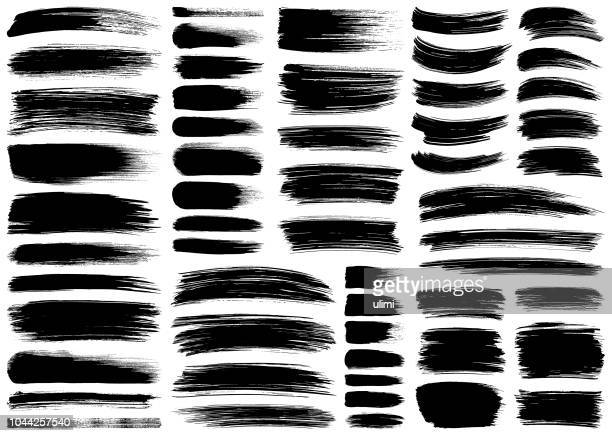 set of vector brush strokes - ink stock illustrations, clip art, cartoons, & icons