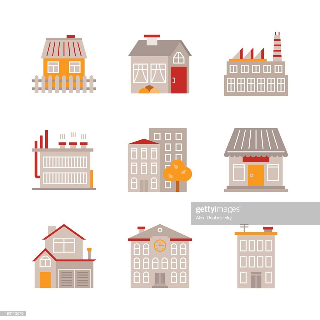 Set of vector building icons and concepts in flat style