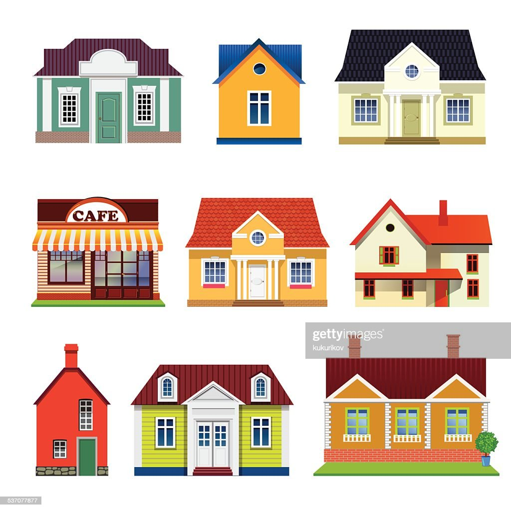 set of vector buildings