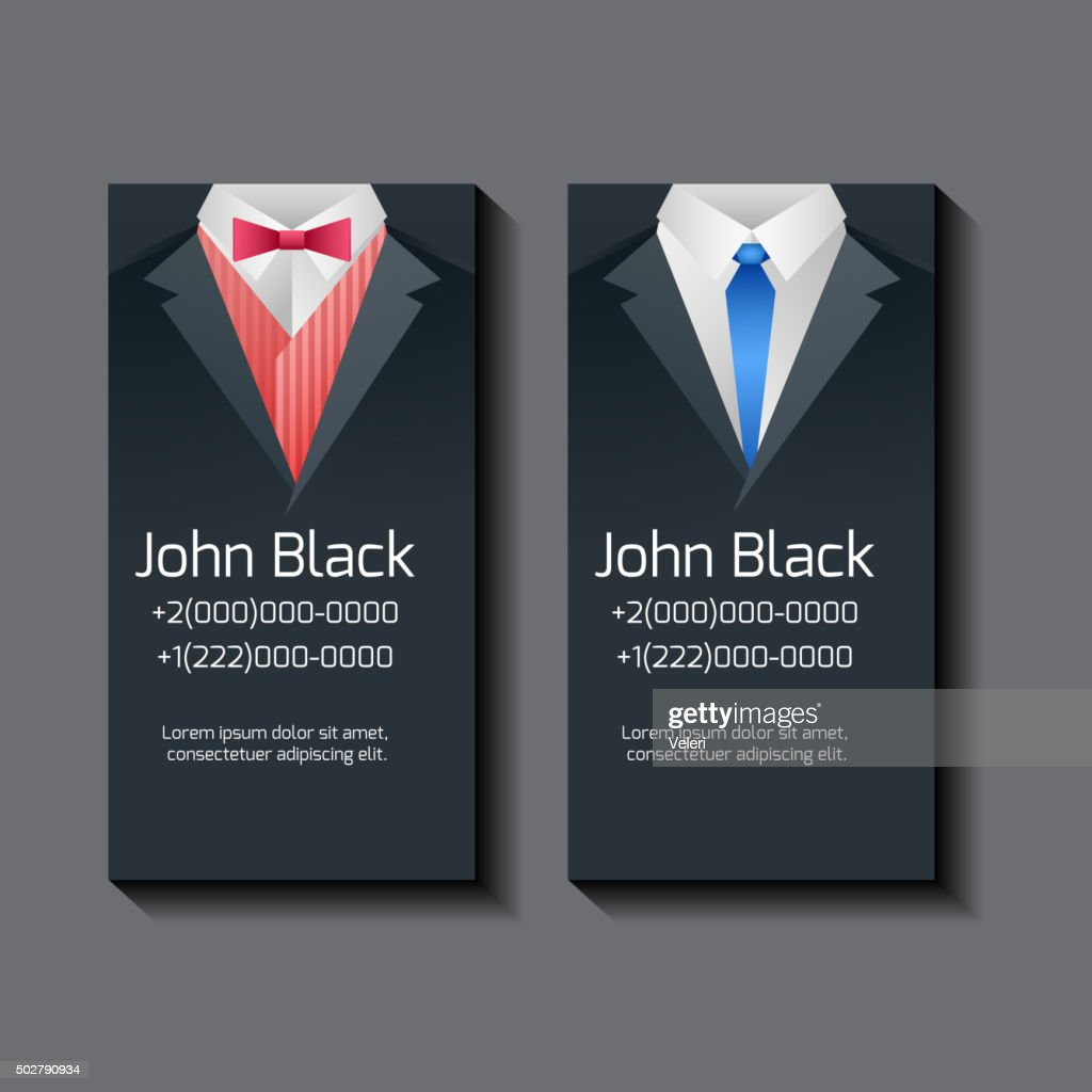 Set of vector business card templates with men's suits