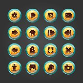 Set of vector button for game design.
