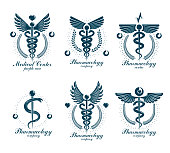Set of vector Caduceus types can be used in cardiology, rehabilitation and as medical clinic emblems.