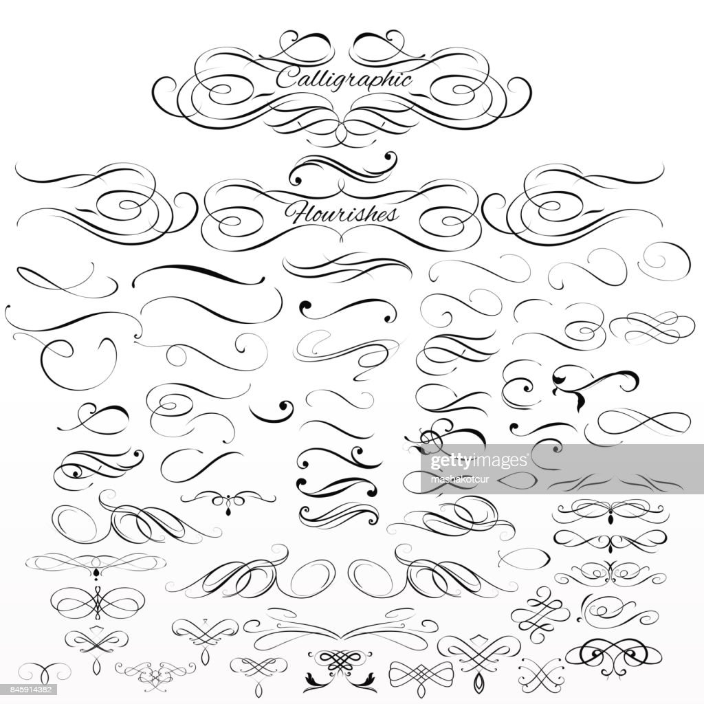 Set of vector calligraphic elements and page decorations