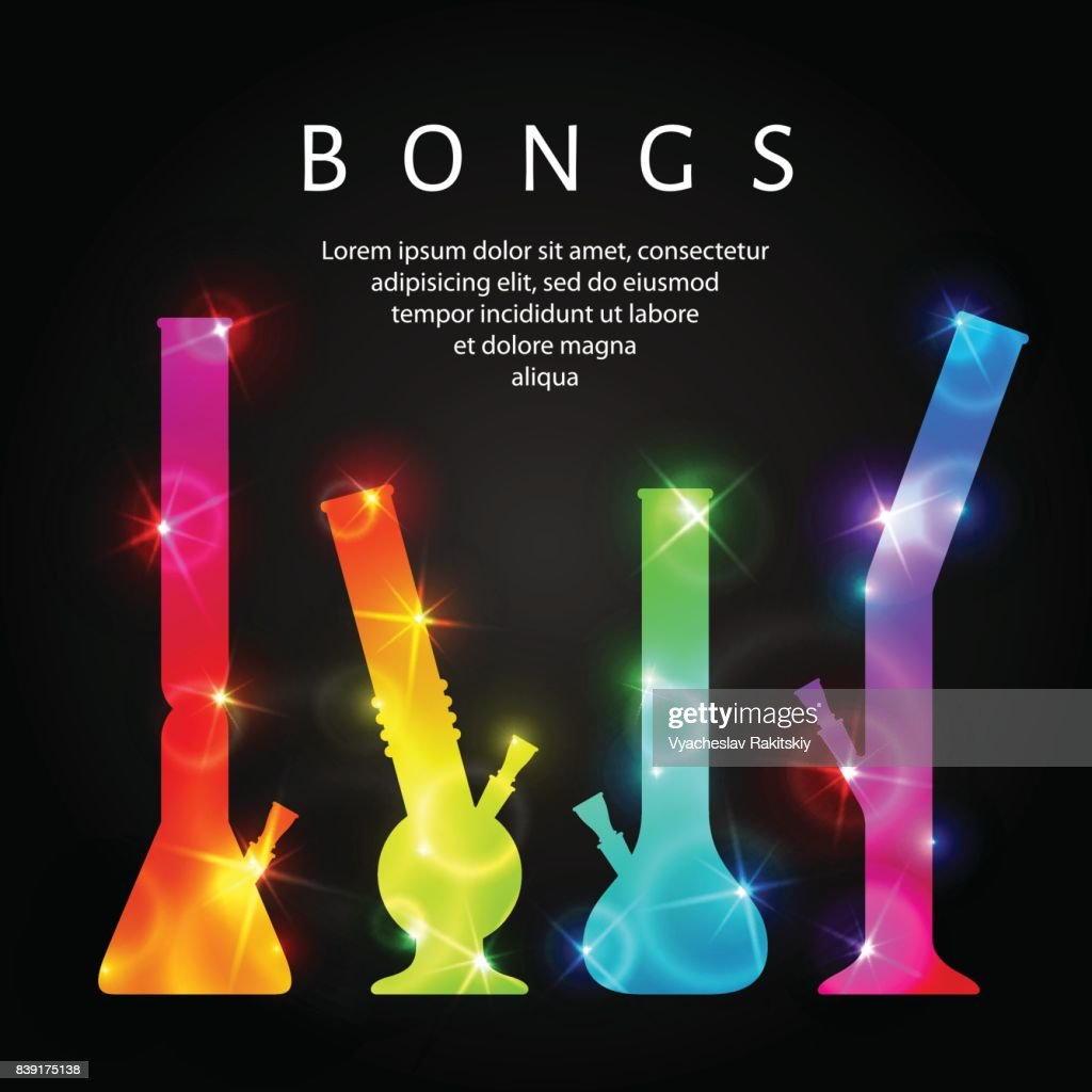 Set of vector cannabis bongs.