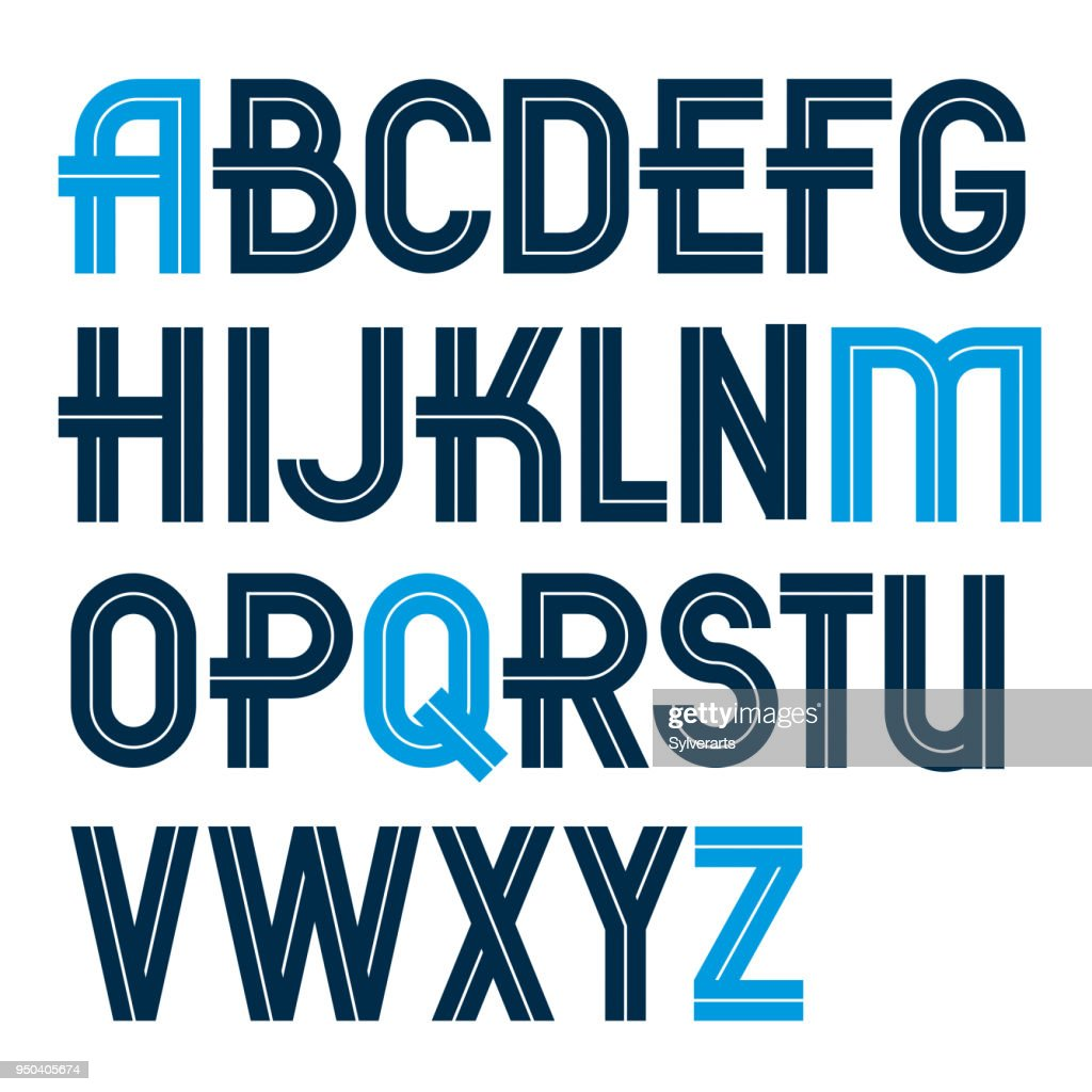 Set of vector capital alphabet letters made with white lines, can be used for poster creation in public relations business