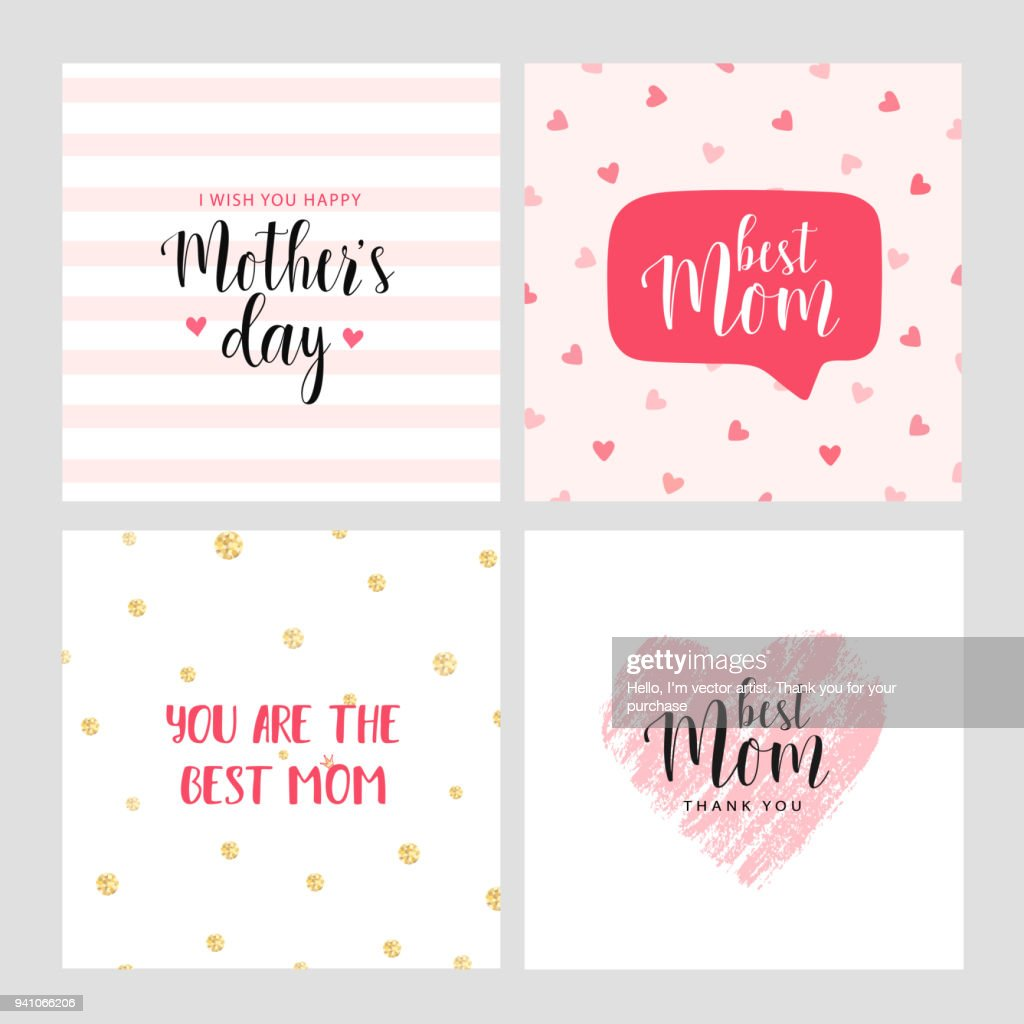 Set of vector cards for Mother's day