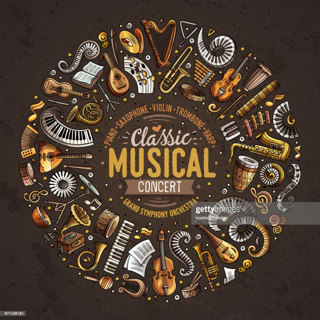 Set of vector cartoon doodle classic musical instruments and objects collected in a circle border