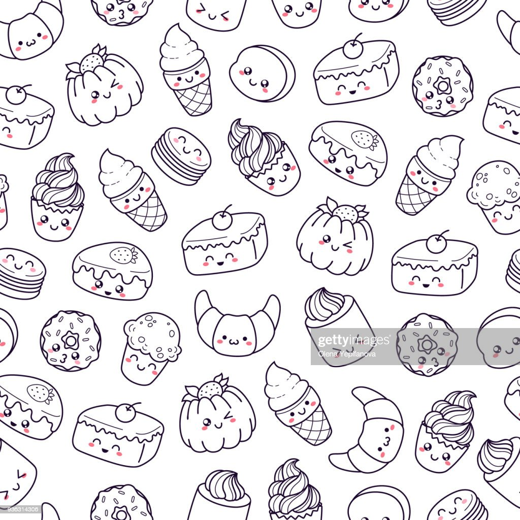 Set of vector cartoon doodle icons dessert, cake, ice cream, sweets food. Illustration of comic baking. Seamless texture, pattern, wallpaper, background. Signs and symbols