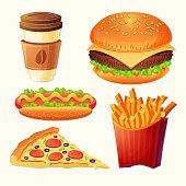 Set of vector cartoon fast food icons