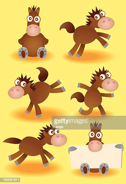 set of vector cartoon horses - mare stock illustrations, clip art, cartoons, & icons