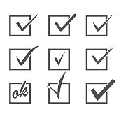 Set of  vector check marks