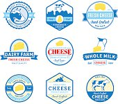 Set of Vector Cheese Labels, Icons and Design Elements