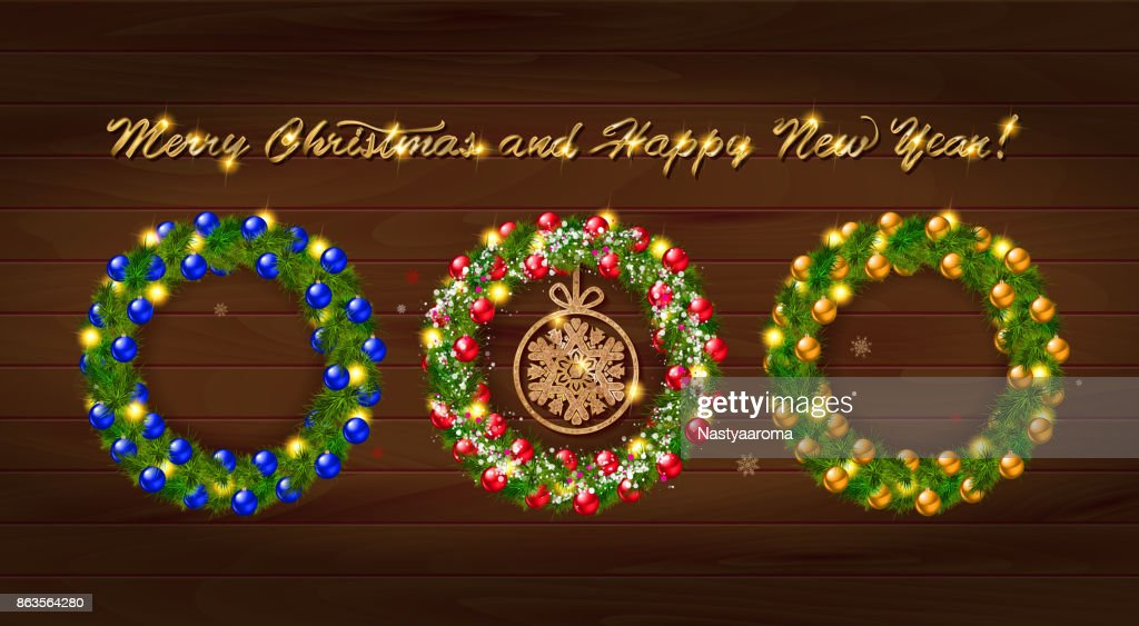 set of vector christmas wreathes