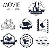 Set of vector cinema emblems