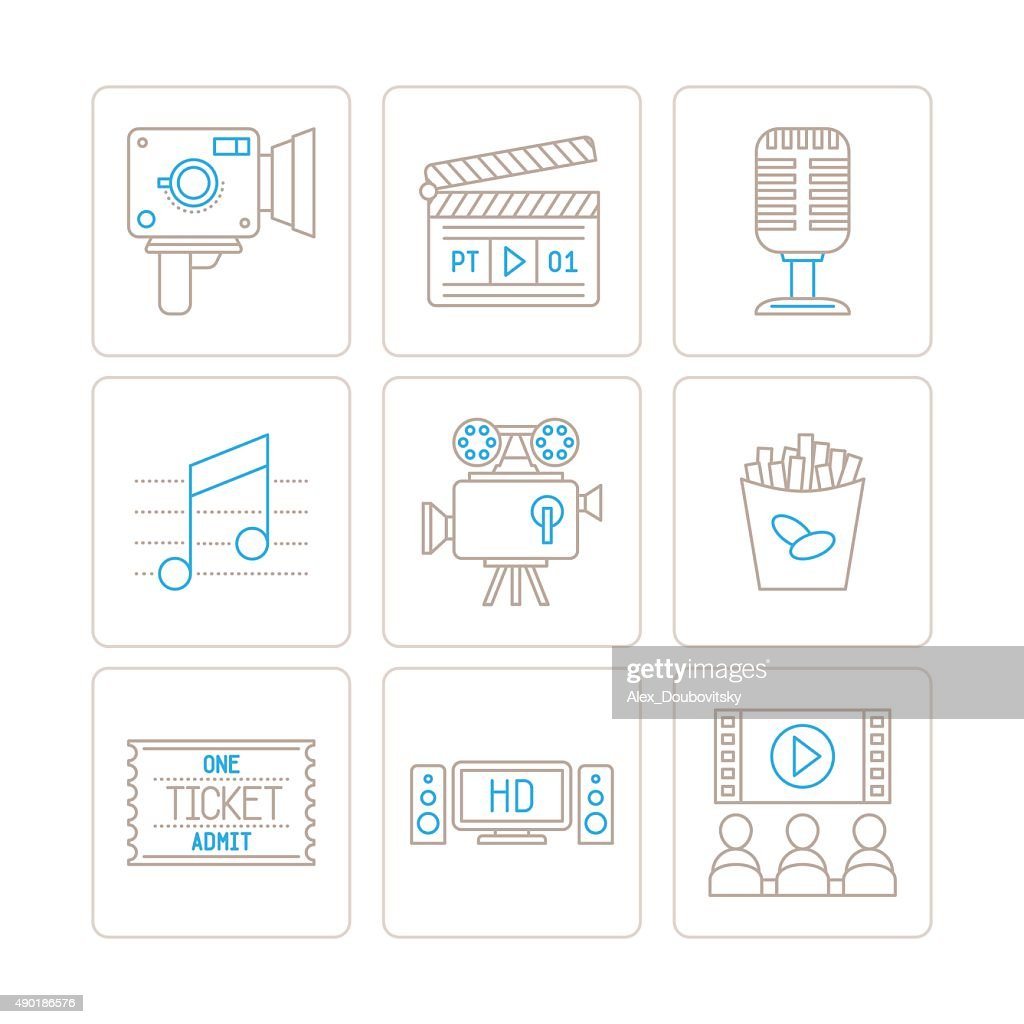 Set of vector cinema icons and concepts