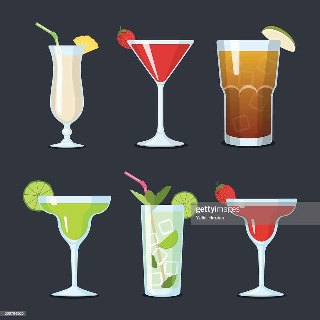 Set of vector cocktails in glasses