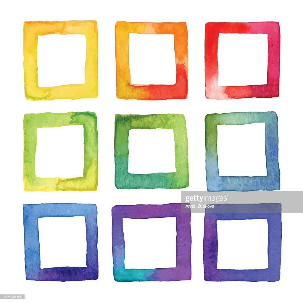 Set of vector coloful watercolor squares for your design.