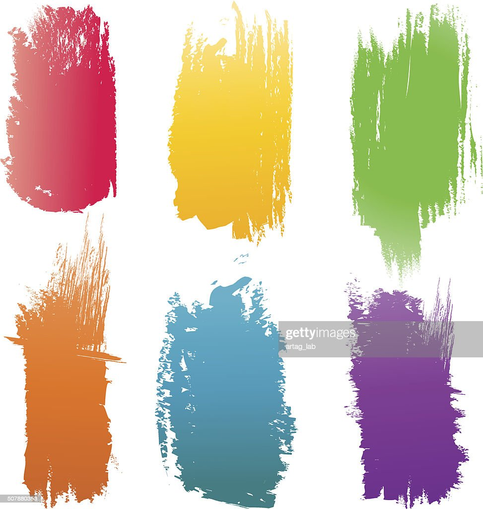 Set of vector color Brush Strokes