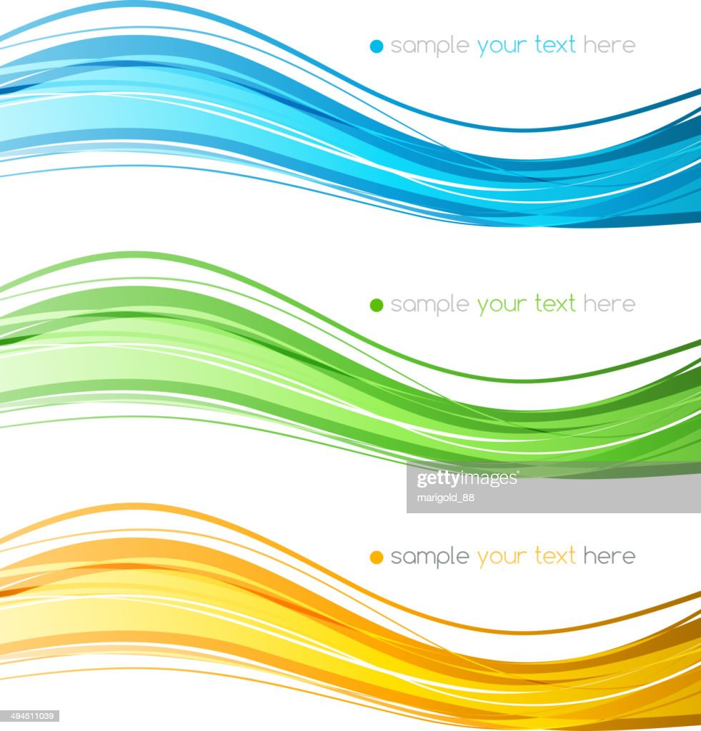 Set of vector  color curve lines design element.