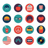 set of vector color flat icons of New York city