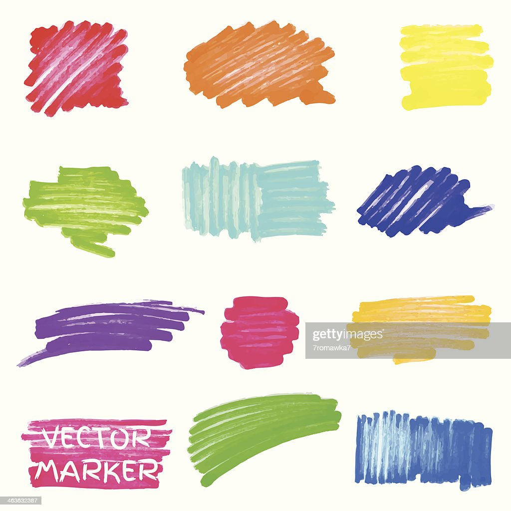 Set of vector colored marker spots
