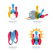 Set of vector colorful bowling icons and symbol.