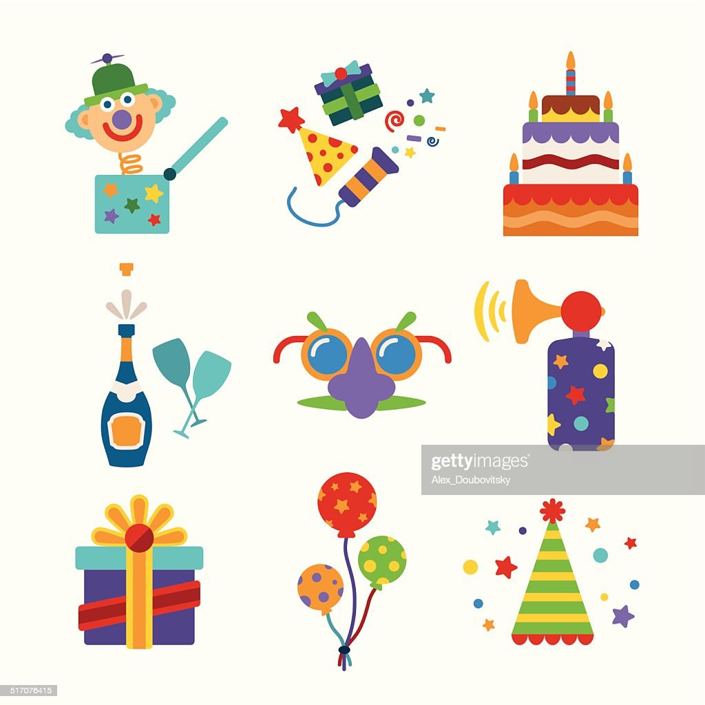 Set of vector colorful celebration icons in flat style