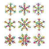 Set of vector colorful linear snowflakes icons.
