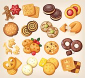 Set of vector cookies.